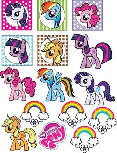{free} printable My Little Pony Stickers Cumple My Little Pony, Little Pony Cake, My Little Pony Birthday Party, My Lil Pony, 4th Birthday Parties, Birthday Ideas, Anniversaire My Little Pony, Rainbow Dash Party, My Little Pony Stickers