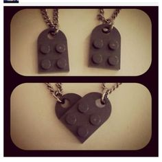 "Lego heart necklace <3 Cute idea to do with the boys! *Need ""coupling plates"" from lego.com*"