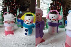 Super cute snowmen from paper tubes...