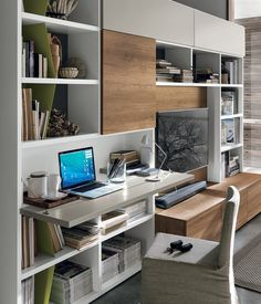 Home office with a built-in desk Creativo Casa Moderna Casa ? Living Room Wall Units, Living Room Interior, Living Room Designs, Living Room Decor, Desk Wall Unit, Modern Office Design, Modern Decor, Pinterest Home, Built In Desk