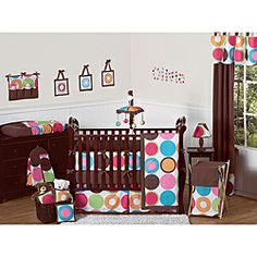 @Overstock.com - Sweet Jojo Designs Deco Dot 9-piece Crib Bedding Set - This stylish designer baby bedding set uses a sensational Sweet Jojo Designs exclusive bright large dots print. The exciting color palette includes hot pink, bubble gum pink, turquoise, lime green, orange and chocolate brown on a crisp white background.    http://www.overstock.com/Baby/Sweet-Jojo-Designs-Deco-Dot-9-piece-Crib-Bedding-Set/6347915/product.html?CID=214117  $189.99