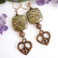 Peace Sign Heart Earrings, Copper, with Earthy Green Czech Glass Beads and Jasper | PrettyGonzo - Jewelry on ArtFire
