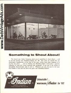 1960 Indian / Matchless - Something to Shout About! Guitar Magazine, Magazine Ads, Vintage Indian Motorcycles, Best Dad, Vintage Ads, Springfield Massachusetts, Plant, Vintage Advertisements, Retro Ads