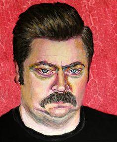 Ron Swanson Pop Art Print  11x14 Parks and by ARTWORKbyMALLORY, $25.00