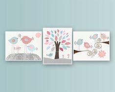 Baby Girl Nursery Decor - Wall Art For Baby Girl Nursery Featuring Love Birds. Rosa by Carousel Designs. Pink, Blue And Gray. 3 8x10 Prints on Etsy, $50.00