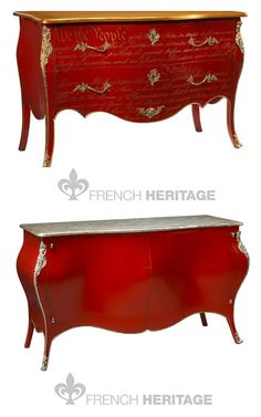 U.S. Constitution Commode in Red and Gold, Jourdan Buffet by French Heritage French Painted Furniture, French Interiors, French Antiques, French Reproductions, French chest