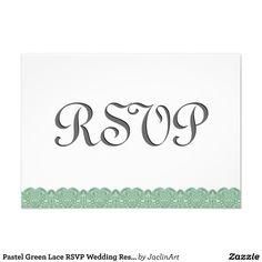 #PastelGreen #Lace #RSVP #Wedding #Response #Invites http://www.zazzle.com/pastel_green_lace_rsvp_wedding_response_v008_invitation-161625046408067062