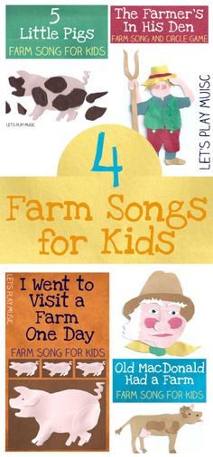4 Farm Songs for Kids is part of Preschool crafts Farm - These farm songs for kids are perfect for the spring season although can of course be sung at any time of year! Perfect for a preschool farm theme! Farm Animals Preschool, Farm Animal Crafts, Preschool Music, Preschool Themes, Preschool Lessons, Preschool Crafts, Farm Animal Songs, Farm Songs, Farm Lessons