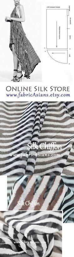 Free Beach Dress Sewing Pattern. Stripe Chiffon Dress Sewing Pattern. Black and White Fabric. by fabricAsians