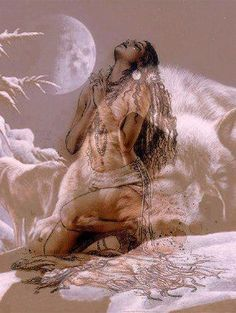 Native american woman on her knees in prayer. Beautiful snow scene with wolf and moon. Native American Paintings, Native American Pictures, Native American Wisdom, Native American Beauty, Indian Pictures, American Indian Art, Native American History, American Indians, Native Indian