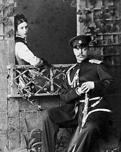 """Tsarevna Marie Feodorovna of Russia with Tsarevich Alexander Alexandrovich Romanov of Russia.....duture Tsar Alexander III of Russia.    """"AL"""""""