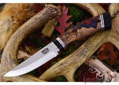 Bark River Knives: Scandi - CPM 3V - Chechen Burl Red Yellow Blur Acrylic Hybris - Black Linen Micarta Accents