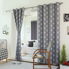 "Amazon.com - Best Home Fashion Grey Arrow Room Darkening Blackout Grommet Top Curtain 84""L - 1 Pair -"