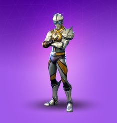 The male skin from the Venture set. Venturion is a silver and gold colored skin that is similar in theme to most of the superhero outfits from Season 4. It didn't originally come with a back bling, but had a cape added to it in a later patch. Nintendo Switch, Mighty Power Rangers, Online Gaming Sites, Supreme Iphone Wallpaper, Best Gaming Wallpapers, Super Hero Outfits, Winter Olympics, Season 7, Iron Man