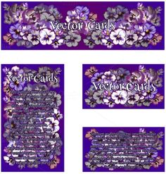 Four cards with purple flowers. Wedding Card Templates. $4.00