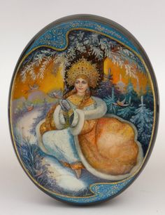 """Russian Large Fedoskino School Lacquer Box """"Snow Maiden Bullfinches """" Signed 
