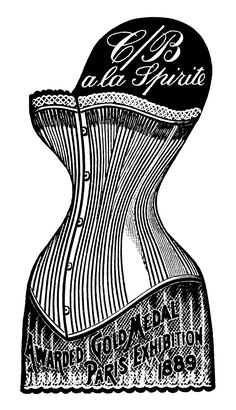 Long-Waisted Victorian Corset #2 ~ Free Vintage Clip Art