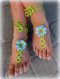 Crochet Barefoot Sandals, Nude shoes, Foot Jewelry, Beach Wedding, Sexy Anklet , Bellydance,Beach Footwear on Etsy, $14.00