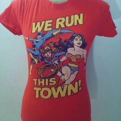 "DC comics heroine t-shirt Graphic tee with Batgirl, Supergirl, and Wonder woman with the phrase ""we run this town"". Hot Topic Tops Tees - Short Sleeve"