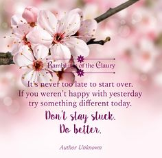 It's never too late to start over. If you weren't happy with yesterday, try something different today. Don't stay stuck. Do better #advice #wisdom #courage #life #positivity #startover