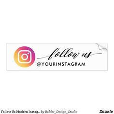 Follow Us Modern Instagram Social Media Bumper Sticker