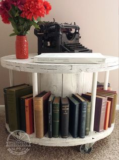 reclaimed cable spool wire reel coffee table bookmobile in antique