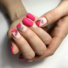 Stylish Nails, Trendy Nails, Cute Nails, Spring Nails, Summer Nails, Bright Pink Nails, Flower Nails, Nail Manicure, Nails Inspiration