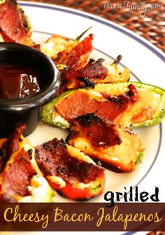 These grilled jalapenos are such a great BBQ side-dish. If you are worried about the spice you can also use mini bell peppers-- those work great too! #stuffedjalapenos #jalapenorecipe
