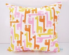 Girls Giraffe Print Cushion Children's by LilyLovesShopping