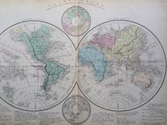 1866 MAPPE MONDE - antique world map - world in hemispheres -  large original antique map - French Atlas Map by NinskaPrints on Etsy https://www.etsy.com/uk/listing/479819623/1866-mappe-monde-antique-world-map-world
