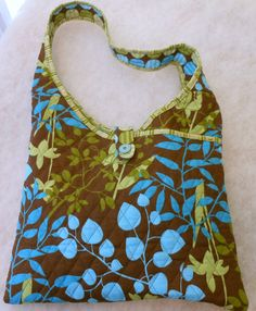 Handcrafted Fabric Hobo Sling Purse in Aqua Lime by SewHappytoSew, $40.00