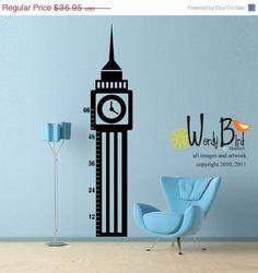 Vinyl Wall Decal Sticker Art - Big Ben Growth Chart - Large decal