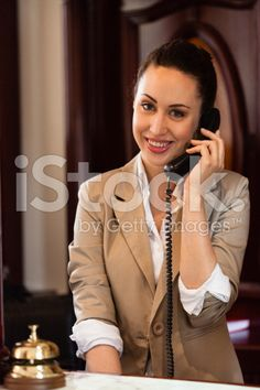 Receptionist at the hotel desk royalty-free stock photo
