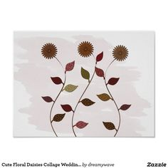 Cute Floral Daisies Collage Wedding Baby Nursery Poster