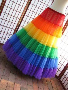 Petticoat Rainbow Floor Length Chiffon Made to Love Rainbow, Taste The Rainbow, Rainbow Art, Over The Rainbow, Rainbow Colors, Rainbow Stuff, White Rainbow, Christopher Street Day, Petticoat For Wedding Dress