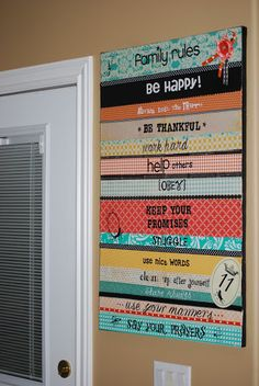 """DIY """"Family Rules"""" Canvas!"""