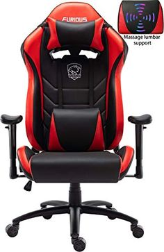 OHAHO Gaming Chair Video Game Chair Height Adjustment Computer Racing Style Office Chair with Headrest Lumbar Pillows Swivel Rocker Recliner E-Sports Executive Desk Chair Black//Red