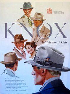 6938ed1e86e 1950 Vintage Ad Knox Men s Hats Antelope Finish Dapper Mid-century Fashion  Style.  5