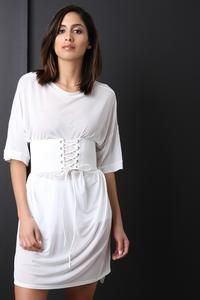 This shift t-shirt dress features semi-sheer mesh fabrication, a crew neckline, elbow-length sleeves, high low hem, and includes an attached wide elasticized co Corset Belt, Fashion Boutique, White Dress, Clothes For Women, Sleeves, Beauty, Collection, Dresses, Mesh