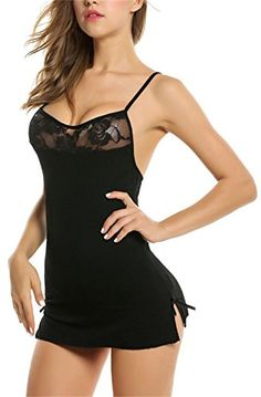 Bluetime Womens Sexy Chemise Dress Slit Lingerie Lace Babydoll for Sex S Black *** More info could be found at the image url.