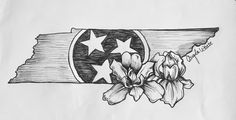 Tennessee tattoo design with the state flower. A beautiful way to honor the best state in the us. State Tattoos, Bff Tattoos, Future Tattoos, Body Art Tattoos, Cool Tattoos, Tatoos, Southern Tattoos, Tennessee Tattoo, Nashville Tattoo