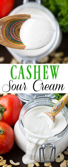 "Cashew Sour Cream- a staple vegan recipe. The perfect amount of ""sour"", and deliciously rich and creamy. #vegan #vegansourcream"