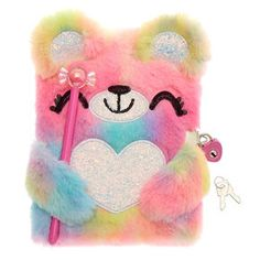 Claire's Sugar the Bear Rainbow Plush Lock Diary Little Girl Toys, Baby Girl Toys, Toys For Girls, Diary For Girls, Unicorn Room Decor, Unicorn Fashion, Cool School Supplies, Cute Notebooks, Unicorn Gifts