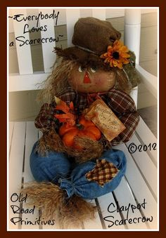 Primitive Everybody Loves a Scarecrow - Clay-pot Scarecrow Fall ePattern