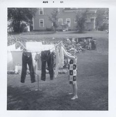 1964  hanging clothes on the line - we had this clothes line well into the 80s