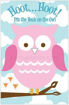 Owl Birthday Party Game Pin the Beak on the Owl - I can make this! I hope... Help @Kristen LaRoche Penn! Bday Girl, Little Girl Birthday, Birthday Fun, 2nd Birthday Parties, Birthday Ideas, Owl Themed Parties, Owl Parties, Owl Party Games, Birthdays