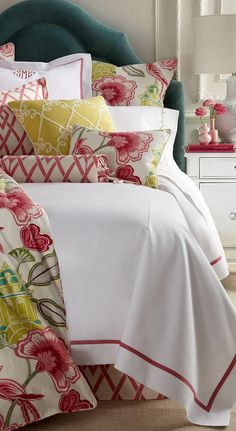 Design your own room, Custom bedding, Bedskirts, Pillow shams, Bedspreads, Comforters, Window curtains, Duvet covers, Pinch pleats, Romans Green Pillows, Floral Pillows, Green Bedding, Decorative Pillows, Floral Bedding, Pink Bedding, Toss Pillows, Floral Fabric, Accent Pillows