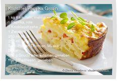 Leckeres Kartoffel Paprika Gratin Rezept mit einfacher Schritt-für-Schritt-Anleitung: Kartoffeln schälen und in dünne Scheiben schneiden , Knoblauch un...