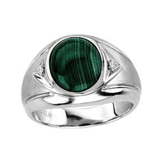 Men's Oval Malachite Ring in Sterling Silver from Naomis & Co on OpenSky