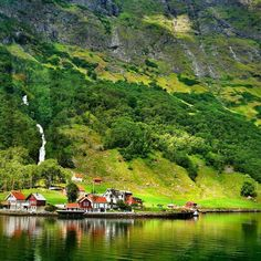 Little village at Sognefjord. Summer 2014 - Norway